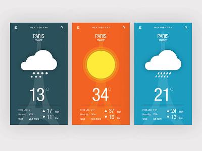 DailyUI #037 - Weather  weather mobile application ux ui dailyui
