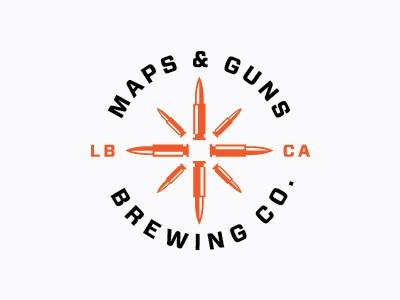 Maps & Guns Brewing 1 logo identity brewery beer maps guns bullets compass rose