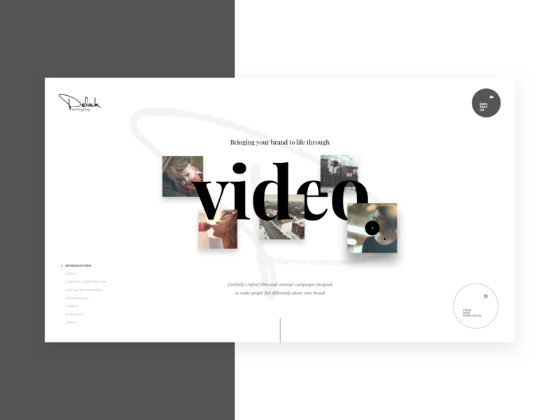 Delack Media Group Direction 2 landing page design layout design layout exploration hero section subtle light typography video agency website agency landing page imagery grid layout interface mockup ux ui web design grid