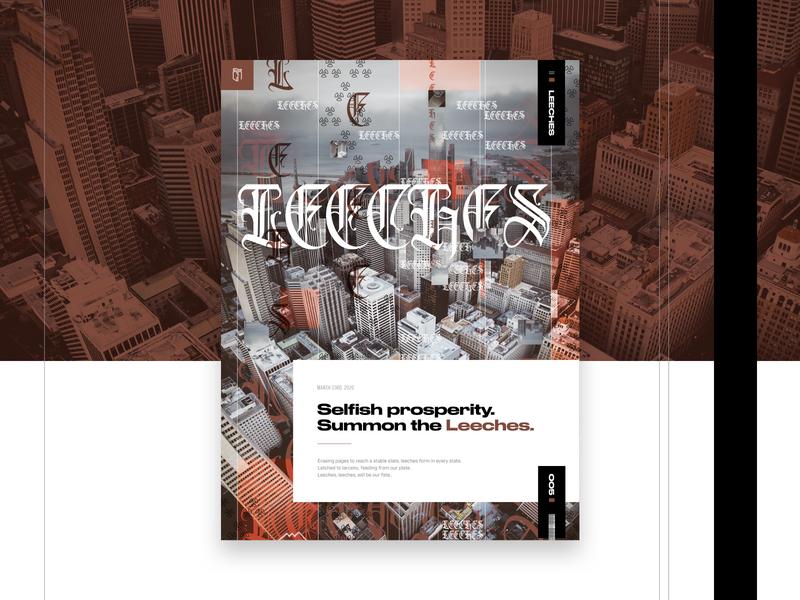 005 - Leeches cityscape layout exploration grid design typography design writing sketchapp exploration visual design poster art imagery grid grid layout web design