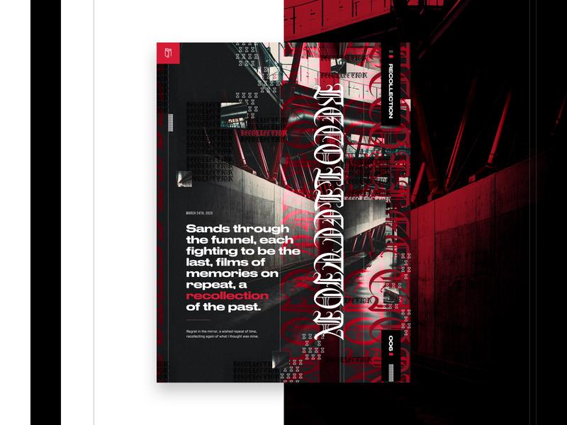 006 - Recollection visual design poster art design imagery grid layout mockup web design grid
