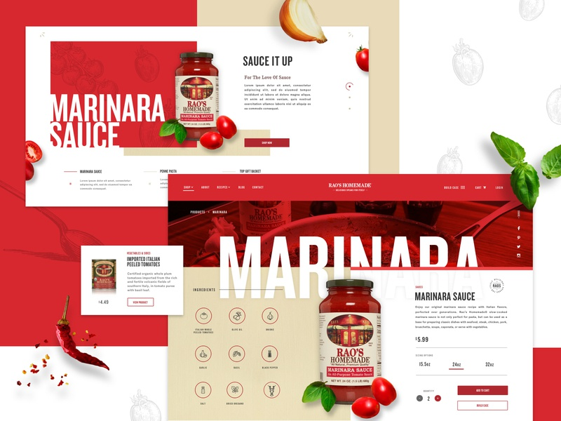 Rao's Homemade Desktop user interface design ui design ux design user experience motion design call to action red layout exploration fresh sauces pasta shopping ecommerce design product page imagery grid layout interface web design
