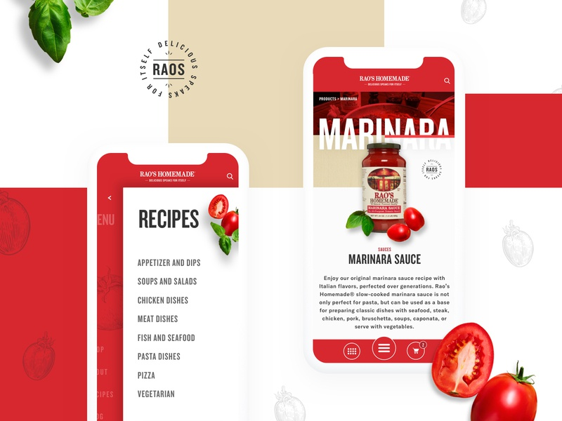 Rao's Homemade Mobile mobile experience mobile product design mobile shopping mobile navigation mobile menu mobile design ux strategy user experience user interface design ui design ecommerce layout imagery layout exploration grid layout interface grid ux ui web design