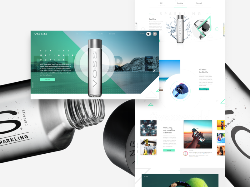 Voss Water Homepage whitespace layout exploration call to action product design product page water shopping ecommerce shop user experience design web redesign website design ux strategy ux ui grid imagery web design grid layout