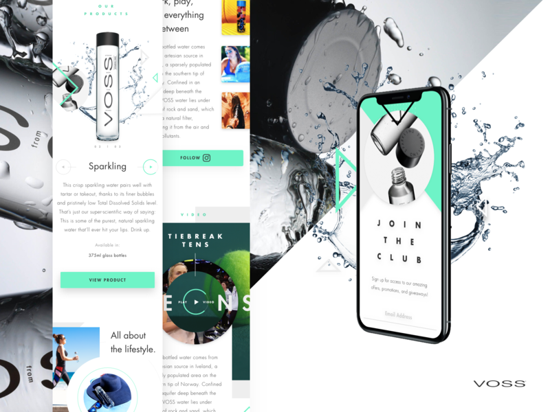 Voss Water Mobile Homepage light interactions video whitespace product water mobile design ecommerce product design strategy ux ui imagery layout exploration grid layout web design