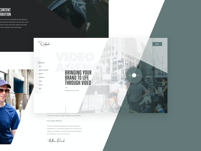 Delack Media Group Full geometric ux strategy angles subtle microinteractions animations scroll animation functionality video grid layout imagery layout exploration ux ui web design grid