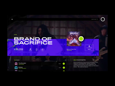 Visual Music UI music player ui music platform web application design mobile app design visual design music player music music app video imagery layout exploration grid layout interface mockup ux ui grid web design