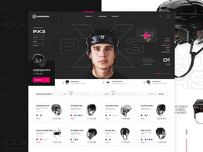 Warrior Hockey Concept sports sportswear sports design store purchasing onlineshop ecommerce design ecommerce typography layout exploration imagery grid layout interface mockup ui ux web design grid