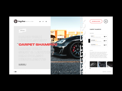 Hang Loose Detailing - Service Listing page typography auto cars sportsdesign website sports design interface grid layout mockup ux web design ui grid