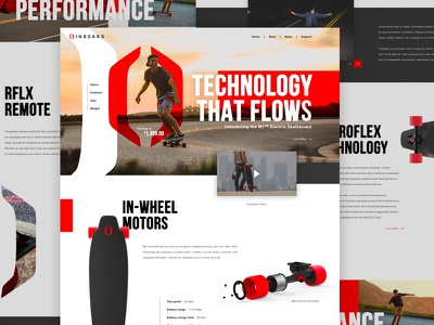 Inboard Skateboards Concept exploded grid technology red concept web design grid longboards skateboards
