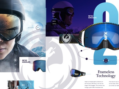 Dragon Goggles Concept landing page web grid circles blue purple typography motocross skiing snowboarding goggles