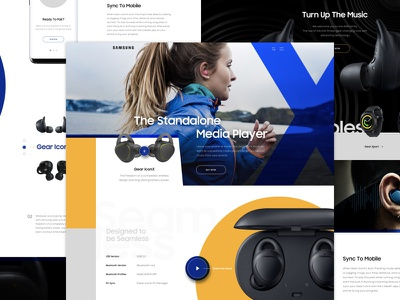Gear Icon X Concept Full simple minimal mockup yellow layout grid blue tech headphones earbuds samsung sketch
