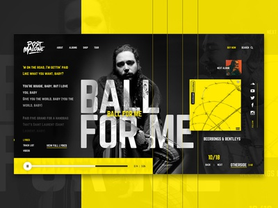 Post Malone UI Concept screen hero shot dark concept exercise social share grid yellow ux ui music player post malone
