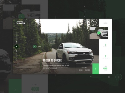 #CorchelTravels - Start circles map video grid layout car exercise green ui web mockup travel corchel