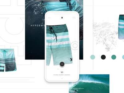 Hurley Board Shorts Concept WIP grid web design branding hurley uiux application ui ecommerce water clothing application mobile