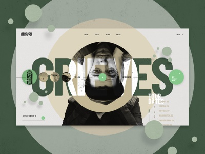 Grieves UI Concept video green artist shapes rounded circles earthy tones grid layout web design ux ui music