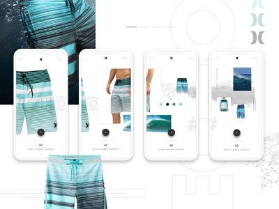 Hurley Board Shorts Concept WIP 2 web design ux minimal purchase clothing ecommerce hurley water blue mobile application interface grid ui mobile