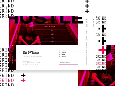 Grind & Hustle T&L E 1 open layout white space grid construction color blocking font usage text styling hustle  grind layout exploration