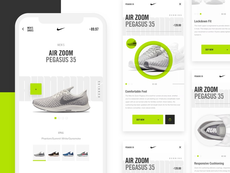 Nike Mobile Concept grid layout elements interface design mobile app design neon colors ux web ui elements visual  identity product card ecommerce design nike