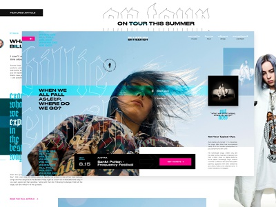 Billie Concept WIP layout exploration exploded grid imagery depth of field call to action musician music player hero banner blog post grid layout web design uiux
