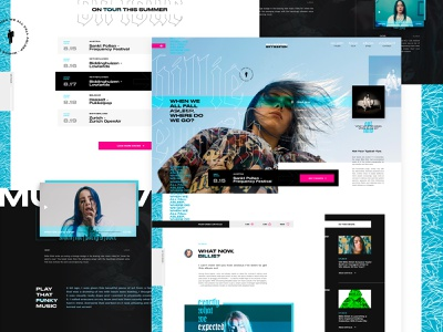 Billie Concept Full web mockup web design ui  ux music imagery layout exploration hero banner grid layout exploded grid call to action blog post