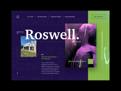 Honeymoon - 03 Roswell depth of field grid layout layout exploration imagery typography green purple ufos aliens road trip ui  ux web design