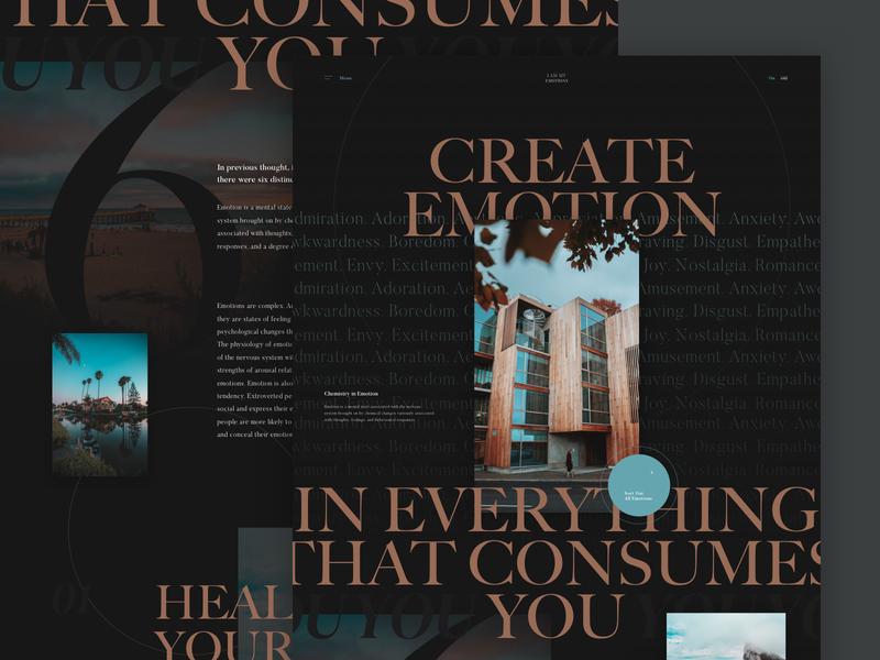 CREATE EMOTION sophisticated elegant design serif fonts imagery colors palette dark theme typography ui  ux grid layout layout exploration web design