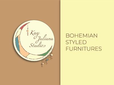 Logo Project: Kay Juliana Studios crescent boho-style bohemian vector vintage illustration logo design