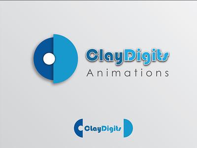 Logo- ClayDigits Animation Studio 3d playful blue anijmation claydigits illustration clean logo design