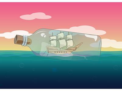 Inktober 2021: Vessel graphic art graphic design ship glass bottle vibrant ocean ship in a bottle inktober2021 inktober vessel illustration vector design
