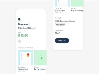 Checkout for delivery app modern app ui design checkout product minimal ui