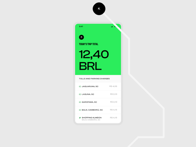 Sem Parar - Study on their brand and UI route lines vector map list arrow green modern branding parking toll app minimal ui
