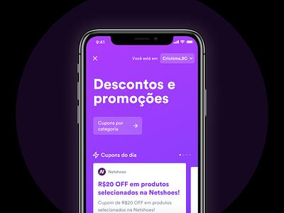 Cupons app 💸 discounts coupons product study app minimal ux ui