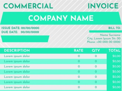Commercial invoice Template typography google docs free template free invoice template invoice teplate invoice commercial invoice