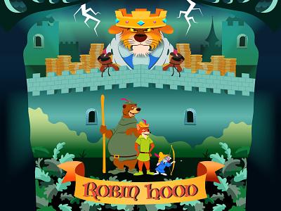 Robin Hood 1973 adobe cartoon illustration digitalart art