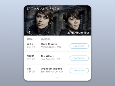 DailyUI - #070 - Event Listing concert teganandsara tickets event listing 070 dailyui