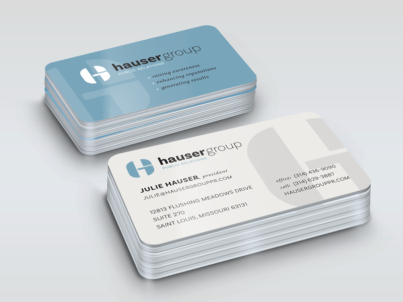 Hauser group business cards by justen hong dribbble business card design for the hauser group a st louis mo based public relations firm colourmoves