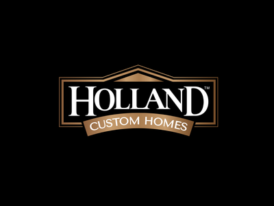 Holland Custom Homes logo construction home builder custom homes branding roof house crest logo design logo