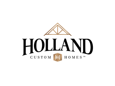 Holland Custom Homes logo home builder construction branding crest seal roof logo design logo