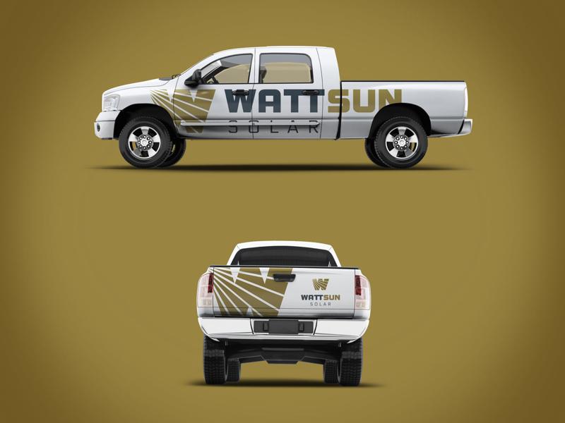 WattSun Solar Truck vehicle wrap design