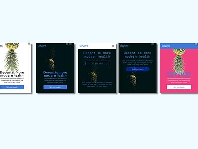 Landing Page Visual Options color explorations color color blocking visual design logo branding ux ui explorations interactiondesign design