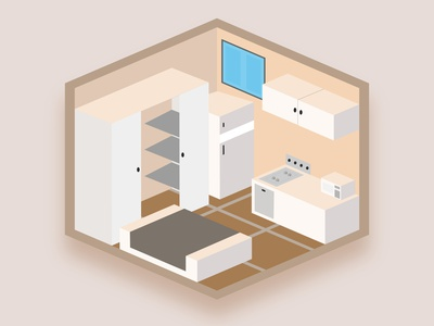 Bachelor Unit 🏠 isometric bedroom isometric illustration isometric design bachelor unit illustration adobe illustrator