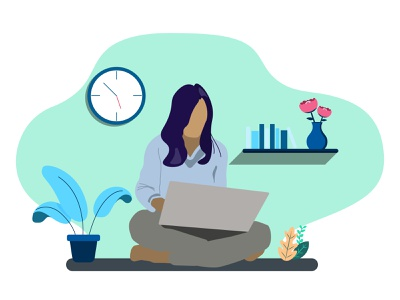 Lady at work flat design lady at work work from home illustration adobe illustrator