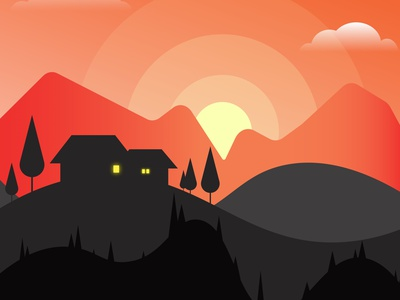 Dusk sunset dawn evening illustration adobe illustrator