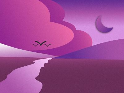 Purple Evening river mountain purple purple evening grain effect illustration adobe illustrator