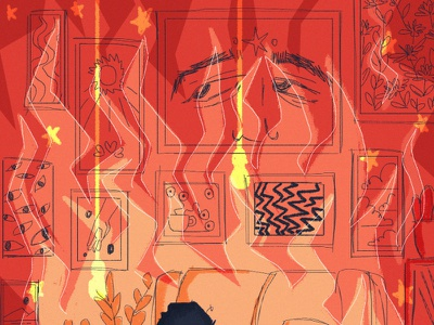 house on fire fire hot house color cat illustration illustration