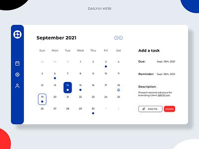 Calendar task tasks calendar design calendar ui calendar 038 dailyui038 desktop app dailyui ui graphic design design