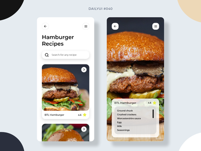 Recipe recipe app recipe burger hamburger 040 dailyui040 mobile app mobile design dailyui ui graphic design design