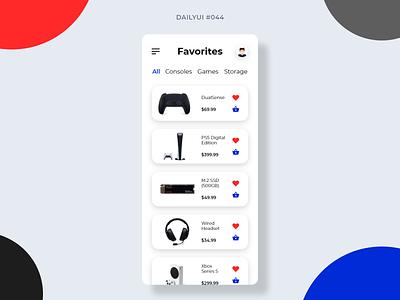 Favorites favorite videogames gaming ecommerce e-commerce dailyui044 044 favorites mobile mobile design app dailyui ui graphic design design