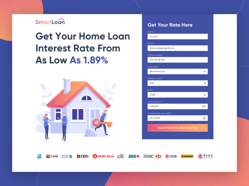 Loan calculator hero banner ui fintech financial app ui design webdesign